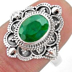 3.22cts solitaire natural green emerald 925 sterling silver ring size 8 t46672