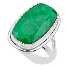 14.88cts solitaire natural green emerald 925 sterling silver ring size 8 t47247