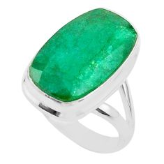 14.23cts solitaire natural green emerald 925 sterling silver ring size 8 t47254