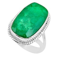 13.76cts solitaire natural green emerald 925 sterling silver ring size 8 t47256