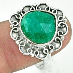 6.02cts solitaire natural green emerald 925 sterling silver ring size 9 t10485
