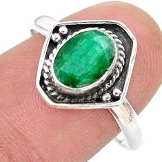 2.61cts solitaire natural green emerald 925 sterling silver ring size 9 t28395