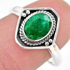 2.42cts solitaire natural green emerald 925 sterling silver ring size 9 t28398