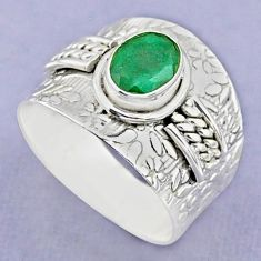 1.94cts solitaire natural green emerald 925 sterling silver ring size 9 t37191