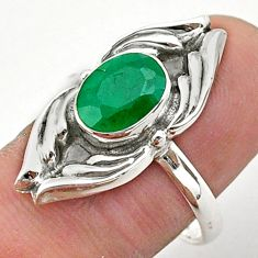 3.10cts solitaire natural green emerald 925 sterling silver ring size 9 t40670