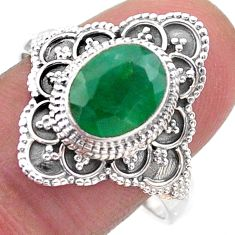 2.98cts solitaire natural green emerald 925 sterling silver ring size 9 t46590