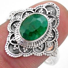 3.05cts solitaire natural green emerald 925 sterling silver ring size 9 t46634