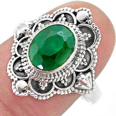 3.41cts solitaire natural green emerald 925 sterling silver ring size 9 t46651