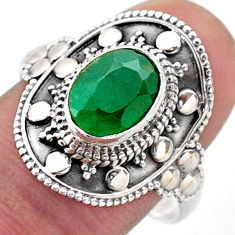 3.41cts solitaire natural green emerald 925 sterling silver ring size 9 t46668