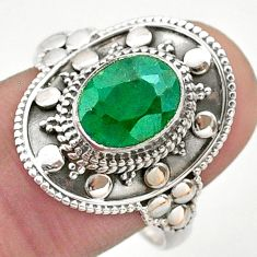 3.22cts solitaire natural green emerald 925 sterling silver ring size 9 t46694
