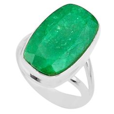 14.61cts solitaire natural green emerald 925 sterling silver ring size 9 t47241