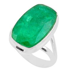 13.76cts solitaire natural green emerald 925 sterling silver ring size 9 t47248