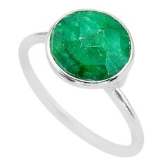 4.46cts solitaire natural green emerald 925 sterling silver ring size 7.5 t39555