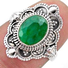 3.11cts solitaire natural green emerald 925 sterling silver ring size 6.5 t46649