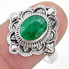 3.22cts solitaire natural green emerald 925 sterling silver ring size 9.5 t46669
