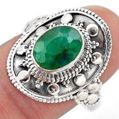 3.26cts solitaire natural green emerald 925 sterling silver ring size 8.5 t46674