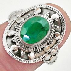 3.25cts solitaire natural green emerald 925 sterling silver ring size 7.5 t46693