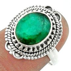 5.31cts solitaire natural green emerald 925 sterling silver ring size 7.5 t55976
