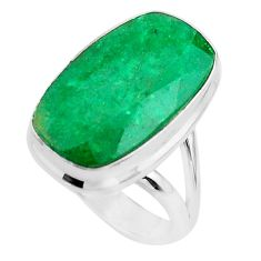 13.79cts solitaire natural green emerald octagan 925 silver ring size 6 t47240