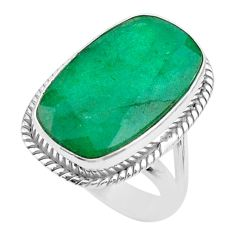 13.36cts solitaire natural green emerald octagan 925 silver ring size 6 t47245