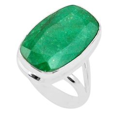 13.79cts solitaire natural green emerald octagan 925 silver ring size 8 t47251