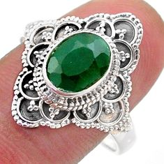 3.41cts solitaire natural green emerald oval shape silver ring size 10 t46632