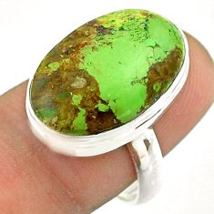 13.66cts solitaire natural green gaspeite 925 silver ring size 7.5 t54705
