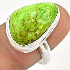 13.27cts solitaire natural green gaspeite 925 silver ring size 7.5 t54711