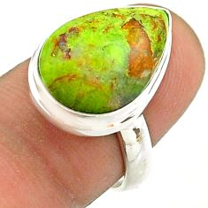 9.61cts solitaire natural green gaspeite 925 sterling silver ring size 7 t54701
