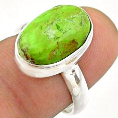 5.80cts solitaire natural green gaspeite 925 sterling silver ring size 7 t54702