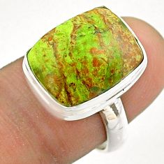 10.02cts solitaire natural green gaspeite 925 sterling silver ring size 7 t54709