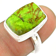 6.36cts solitaire natural green gaspeite 925 sterling silver ring size 7 t54716
