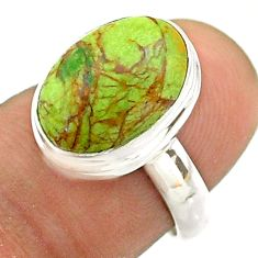 5.36cts solitaire natural green gaspeite oval 925 silver ring size 6.5 t54707