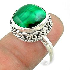 6.63cts solitaire natural green malachite cushion silver ring size 8.5 t55884