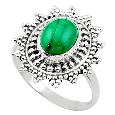 3.19cts solitaire natural green malachite oval 925 silver ring size 8.5 t20247
