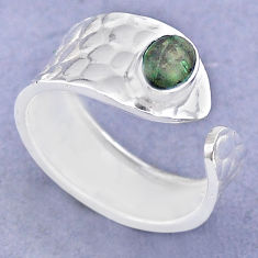 1.51cts solitaire natural green malachite silver adjustable ring size 8 t47330