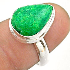 6.26cts solitaire natural green maw sit sit 925 silver ring size 6.5 t54634
