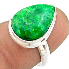 7.17cts solitaire natural green maw sit sit pear 925 silver ring size 6 t54650