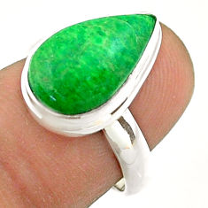 5.76cts solitaire natural green maw sit sit pear 925 silver ring size 7 t54626