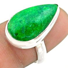 9.43cts solitaire natural green maw sit sit pear 925 silver ring size 7 t54643