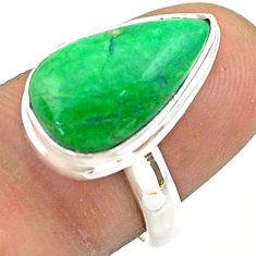 7.50cts solitaire natural green maw sit sit pear 925 silver ring size 7 t54651