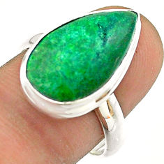 10.31cts solitaire natural green maw sit sit pear 925 silver ring size 8 t54660