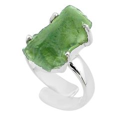 8.31cts solitaire natural green moldavite silver adjustable ring size 4 t50002