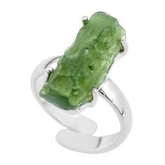 8.10cts solitaire natural green moldavite silver adjustable ring size 6 t50023