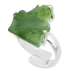 8.42cts solitaire natural green moldavite silver adjustable ring size 4.5 t50031