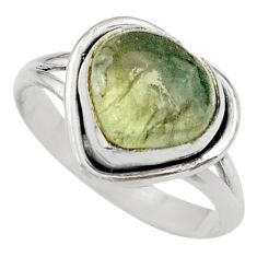 5.54cts solitaire natural green moss agate heart 925 silver ring size 8 t41679
