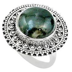 13.41cts solitaire natural green moss agate round 925 silver ring size 7 t15515