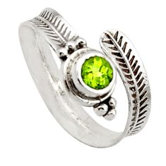 1.04cts solitaire natural green peridot 925 silver adjustable ring size 9 r40770