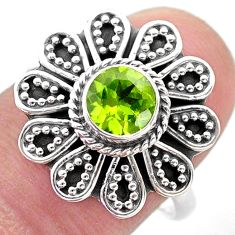 1.14cts solitaire natural green peridot 925 silver flower ring size 8.5 t46110