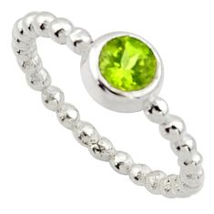 0.99cts solitaire natural green peridot 925 sterling silver ring size 6.5 r40522